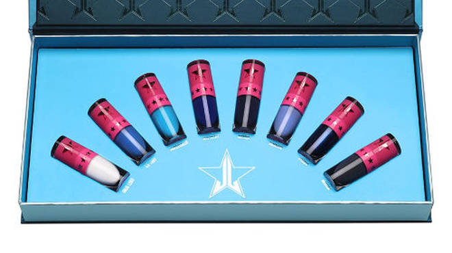 The eight mini liquid lipsticks come in a metallic blue gift box