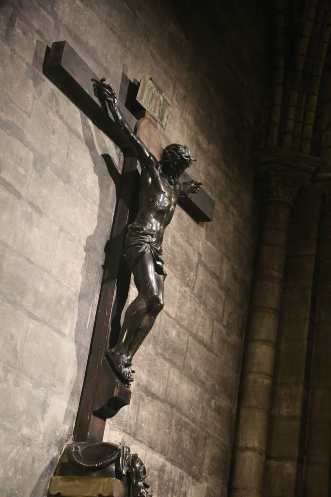 Christ on the cross was just one of the many incredible features of the Parisian landmark