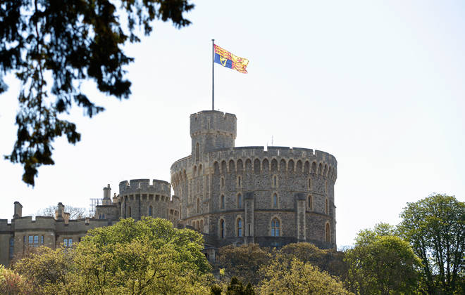 The Royal Standard flies over Windsor Castle.