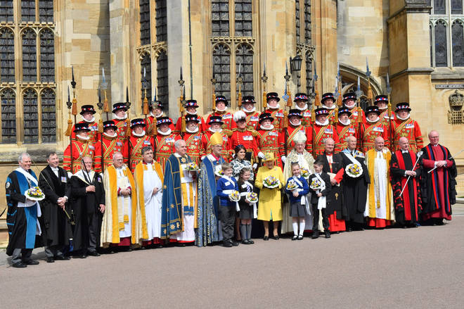 The Queen outside Windsor Castle for the Royal Maundy Service.