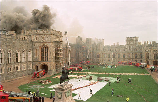 Firefighters battle the 1992 blaze at Windsor Castle.