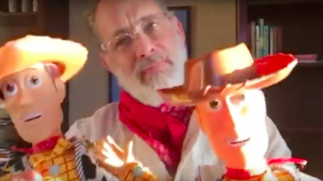 "Tom Hanks films a heartwarming video of him personalising Woody dolls for ""special"" twins"