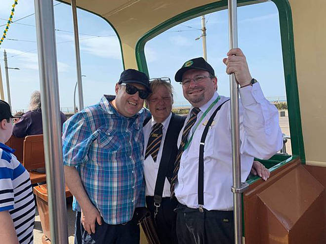 Peter Kay has been posing for pictures with fans on a tram in Blackpool