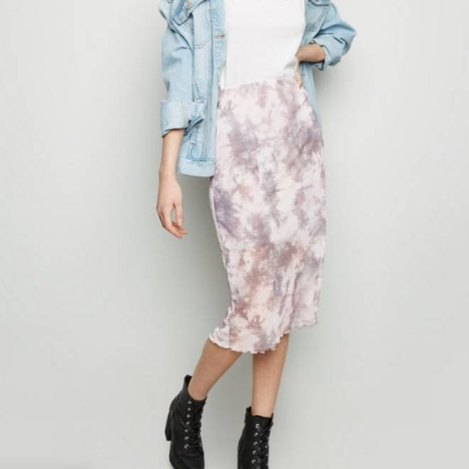 Grey Tie Dye Mesh Midi Skirt