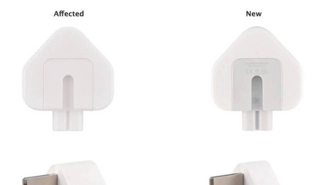 Apple is recalling the AC wall plug adapter and the three-pronged plug included in the World Travel Adapter kit.