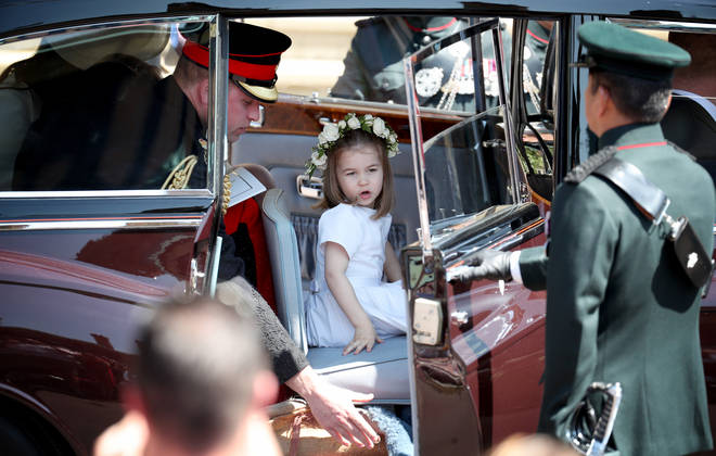 Princess Charlotte arrived in style to Meghan and Harry's wedding last May