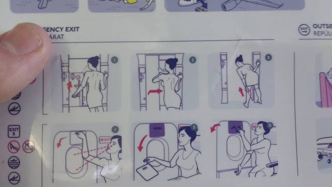 The airline has come under fire for their use of a scantily-clad woman on their safety cards