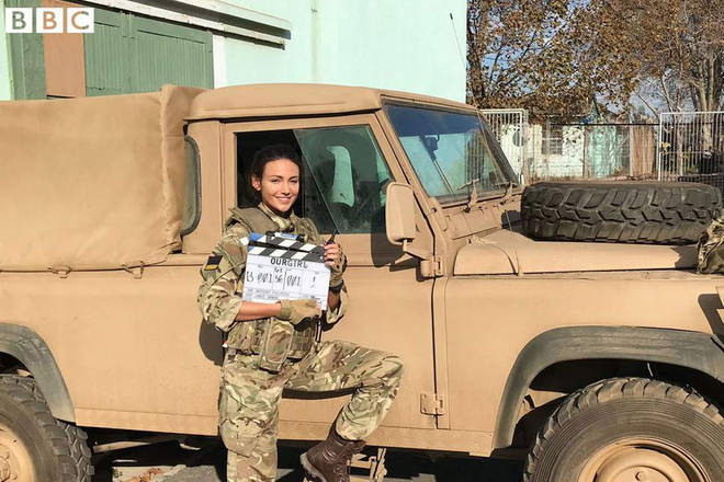 Michelle Keegan on the Our Girl set
