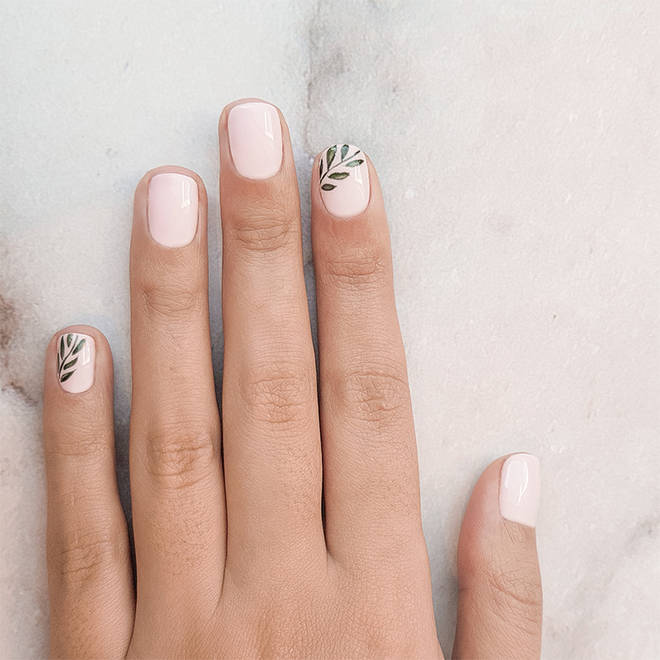 Leaves are growing in popularity as a nail art design