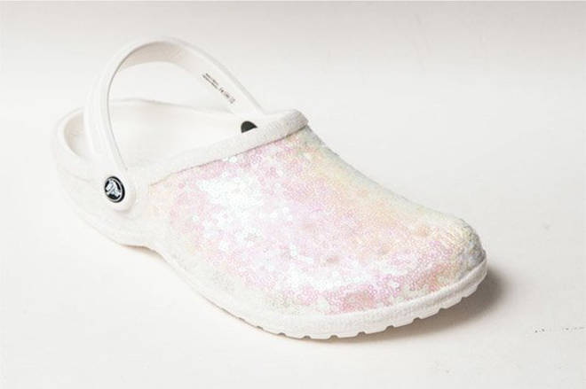 Would you wear Crocs on your wedding day? These are the Starlight Sequin Crystal Iris Crocs