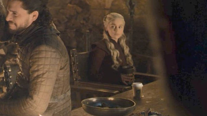 "One fan tweeted: ""HOLD UP, ISN'T ANYONE GONNA COMMENT HOW THE MOTHER OF DRAGONS LIKES HER WINE WITH A CUP OF @Starbucks COFFEE ON THE SIDE?"""