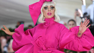 Lady Gaga arrived to the 2019 Met Gala in a dramatic pink gown