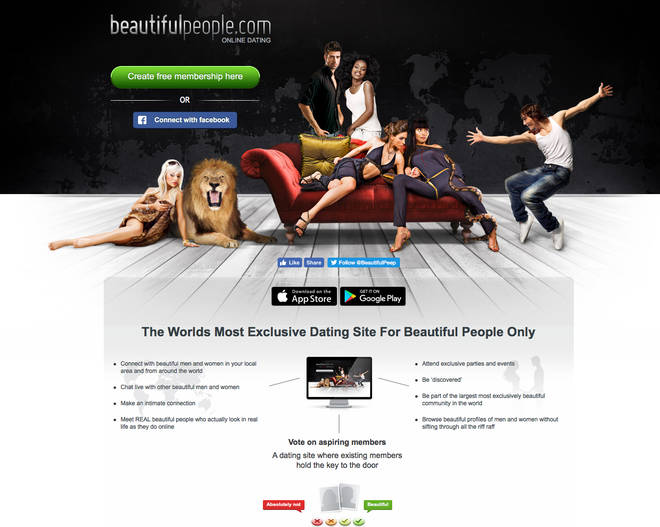 The site's homepage claims to pair beautiful people with others of the same calibre