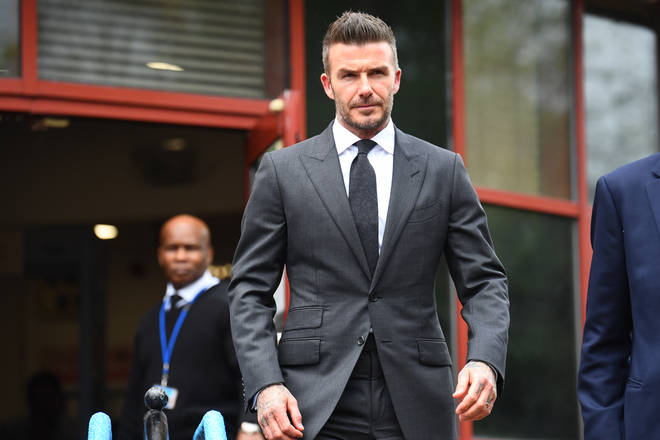 David Beckham arriving in court today