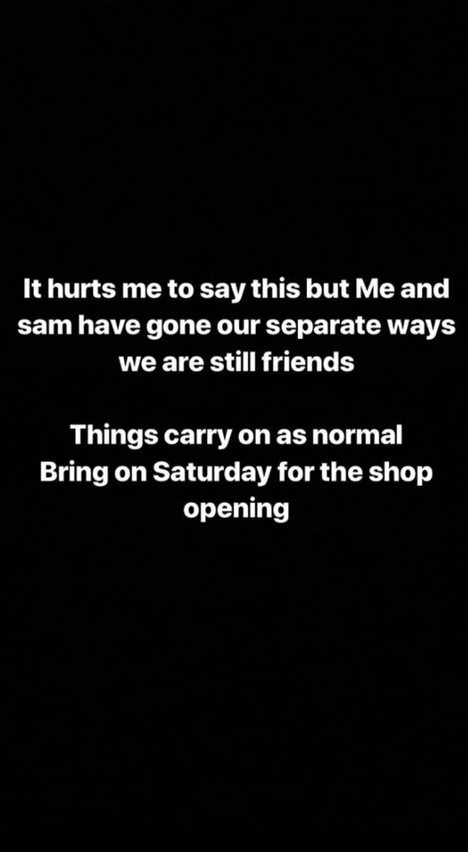 Chloe announced the split on her Instagram story this morning