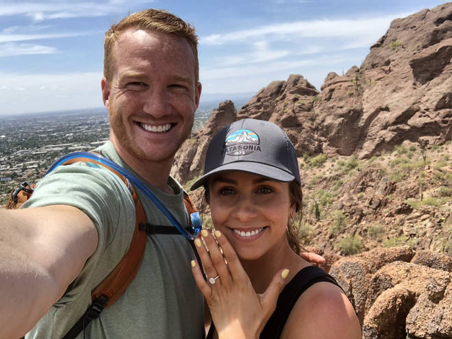Greg Rutherford and Susie Verrill get engaged on Camelback Mountain in Arizona.