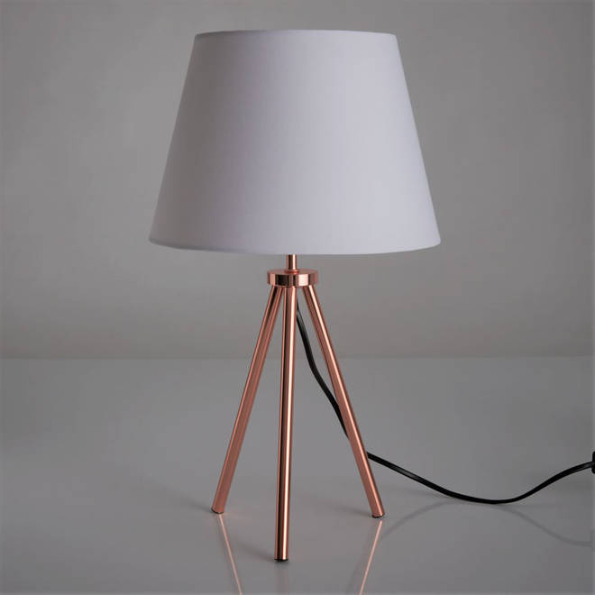 This simple lamp from Wilko will work with any colour, but the copper tripod base adds a metallic pop to a room