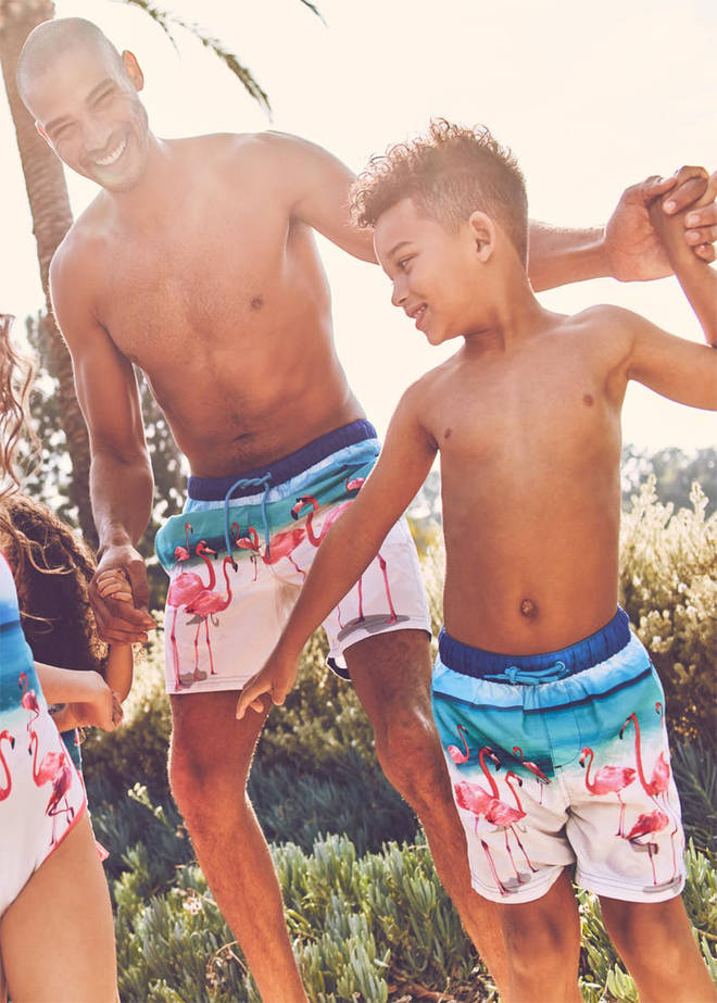 There are matching flamingo trunks for dads and their kids