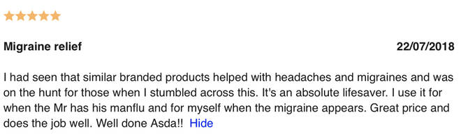 Another happy customer said the product helped with migraines