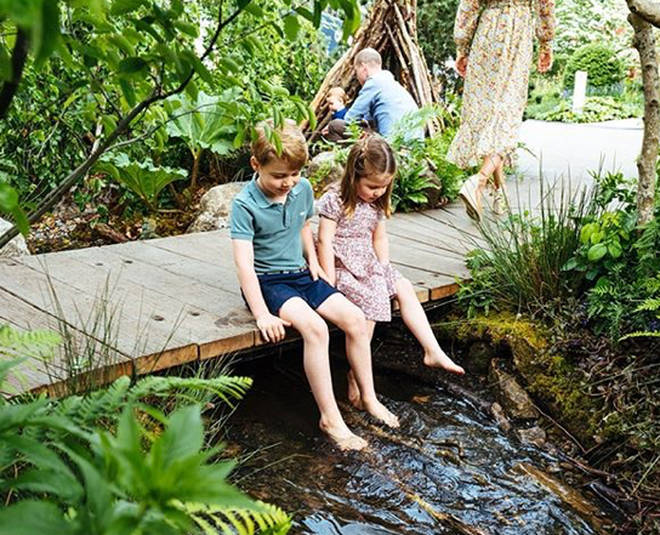 Prince George and Princess Charlotte dangled their bare feet in the brook