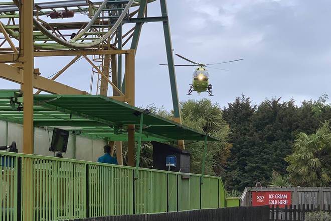 A boy was airlifted to hospital after falling off a rollercoaster in Yorkshire today