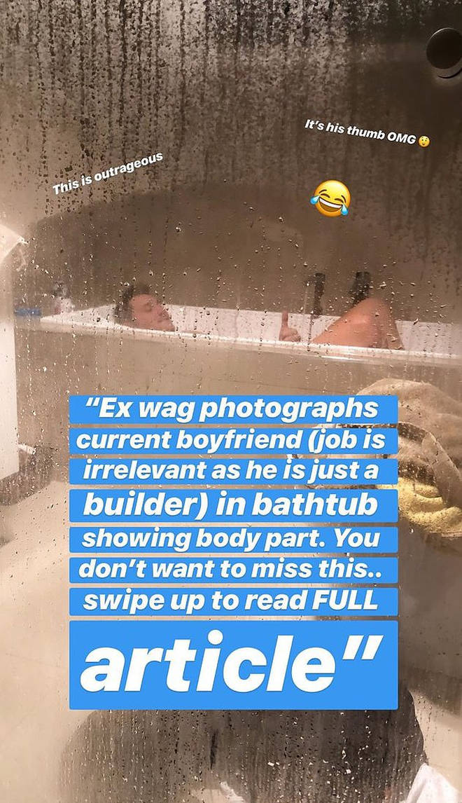 The 26-year-old poked fun at the social media mistake with a naked photo of her boyfriend Leighroy Wellington in the bath.