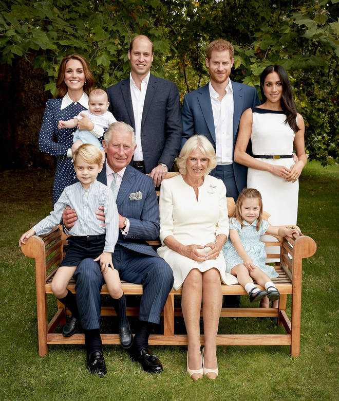 The immediate Royal Family, along with William and Kate's children, Prince George, Princess Charlotte and Prince Louis