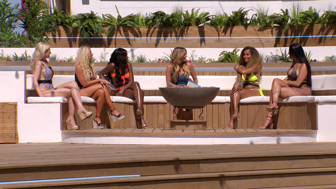 Caroline Flack joined the ladies by the fire pit