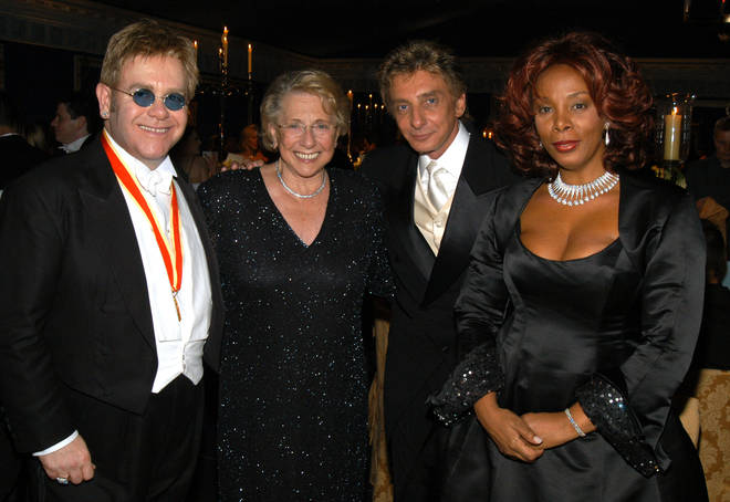 Sir Elton John with his mother Sheila Farebrother, and music pals Barry Manilow and Donna Summer