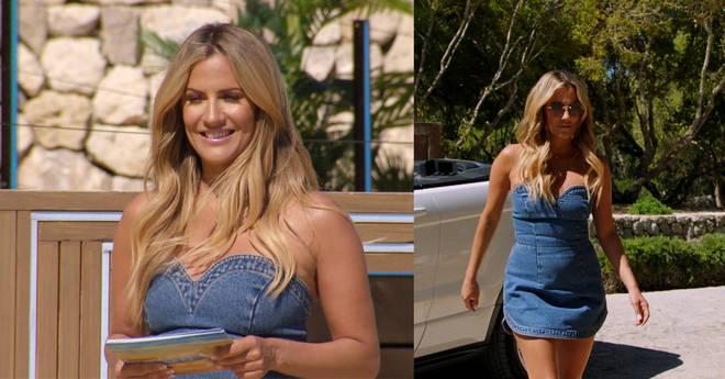 Caroline Flack wore a stunning denim dress during episode one