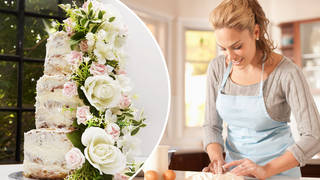 The DIY wedding cake set is available on Amazon