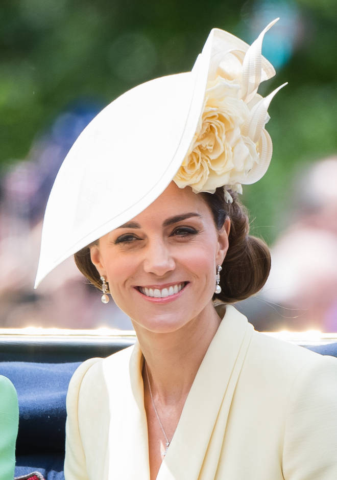 Kate wore the pale yellow head piece by Philip Treacy to Prince Harry and Meghan Markle's wedding last summer.