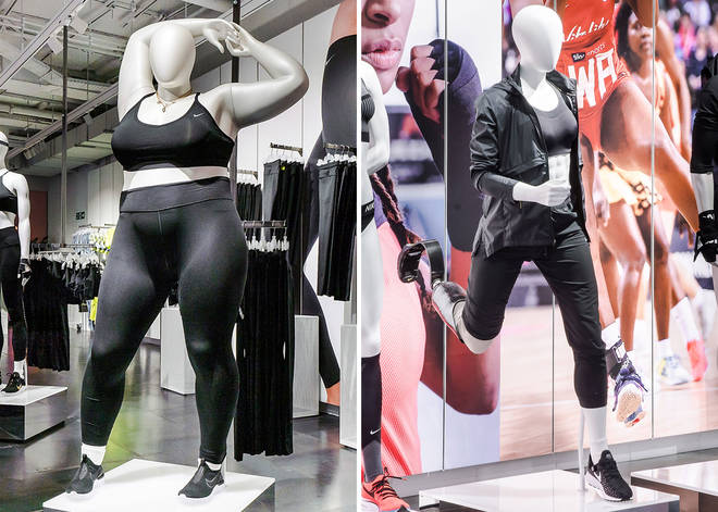 Nike is showcasing its athletic wear on plus size mannequins.