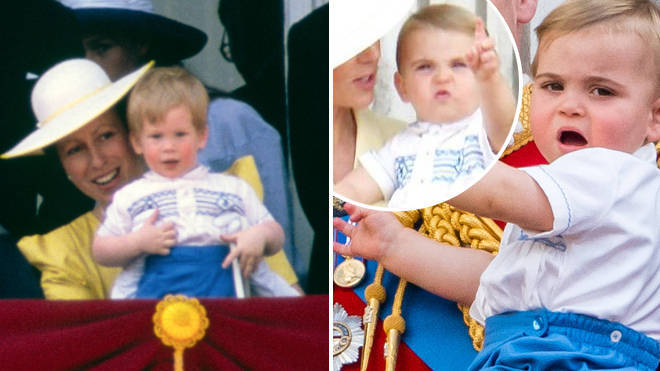 Prince Harry in 1986, left, and Prince Louis, right, in 2019.
