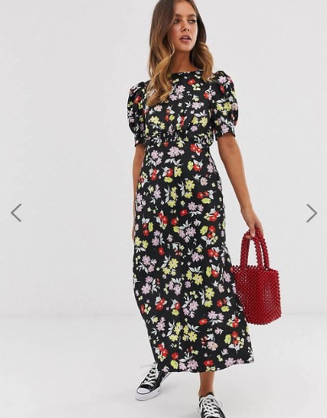 Asos' midi tea dress in bright grunge floral print