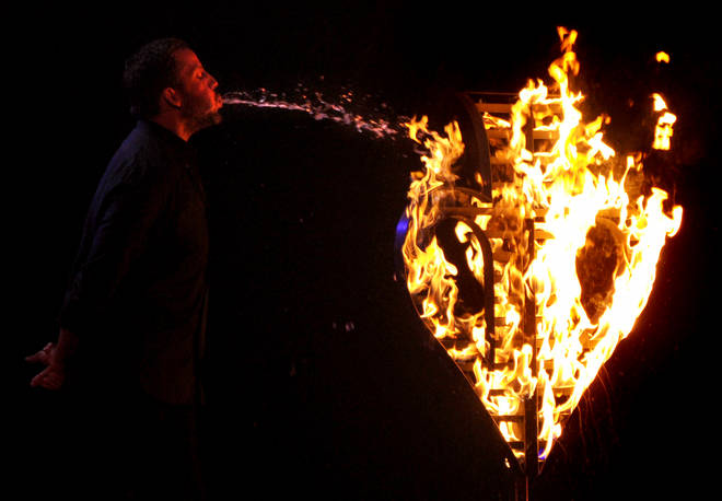 One of the tricks in David's tour is based on a fire-breathing vaudeville act from the early 20th century