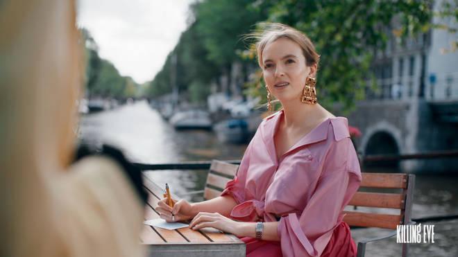 Villanelle pink blouse and skirt Killing Eve season 2