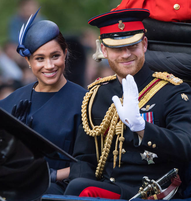 The Duke and Duchess of Sussex were all smiles ahead of the Trooping The Colour parade