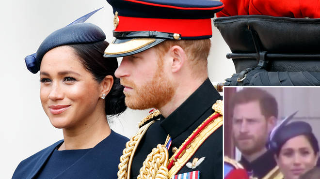 Meghan and Harry appear to have an awkward exchange at the Trooping of the Colour