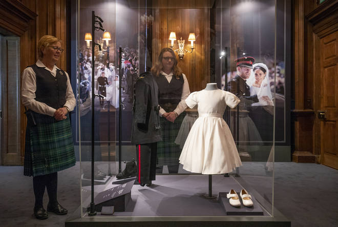 Prince George and Princess Charlotte's wedding outfits are also on display