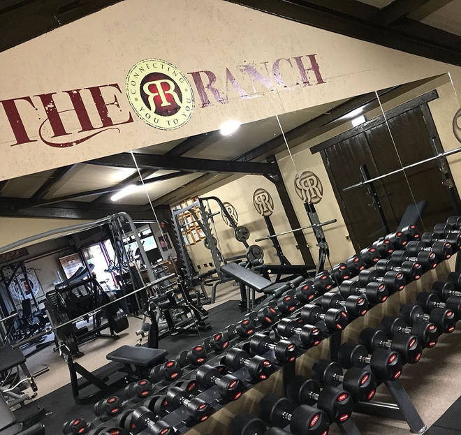 The gym has the R branding all over different area