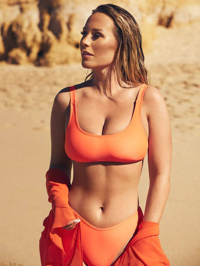 This simple orange two-piece set will inject a dose of colour to any poolside get-up