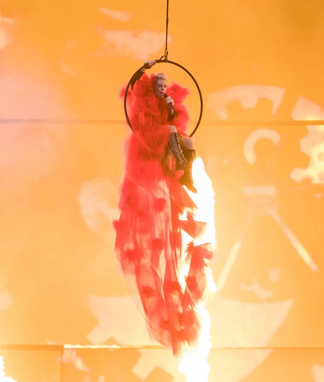 Pink performing at the 2019 BRIT Awards