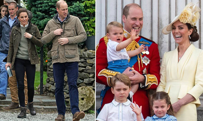 William and Kate were spotted running across the lawn to be reunited with their children