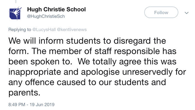 The school spoke out in response on Twitter and apologised