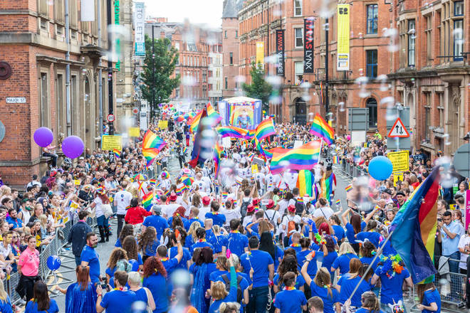 Flying the flag: Manchester Pride is an annual LGBT pride festival and parade at Canal Street and the surrounding area, with a parade through the streets of Manchester