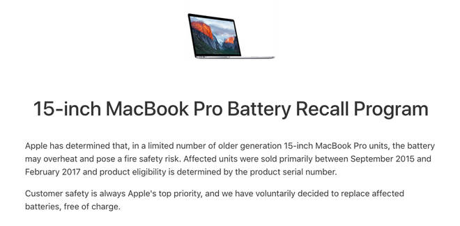 Apple is urging customers who bought the computer between September 2015 and February 2017 to check the serial number.