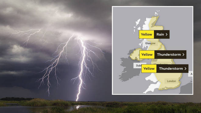 Thunder, lightning and heavy rain is set to strike today as The Met Office issues weather warnings.