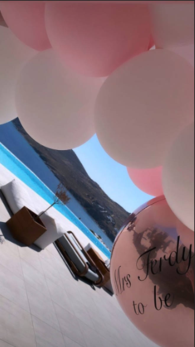 The villa was decked out with hen do balloons