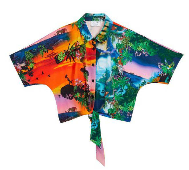 Disney The Lion King x ASOS DESIGN Curve cropped shirt co-ord in sunset print – £35